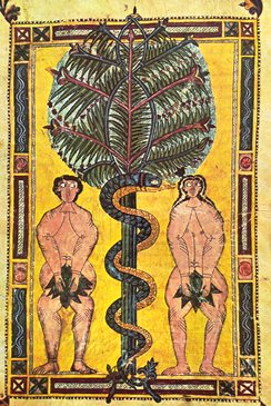 Adam and Eve, illuminated manuscript circa 950, Escorial Beatus