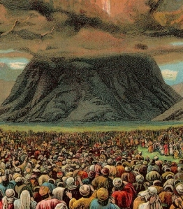 Mass-revelation at the Mount Horeb in an illustration from a Bible card published by the Providence Lithograph Company, 1907