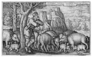 Engraving of the Prodigal Son as a swineherd by Hans Sebald Beham, 1538